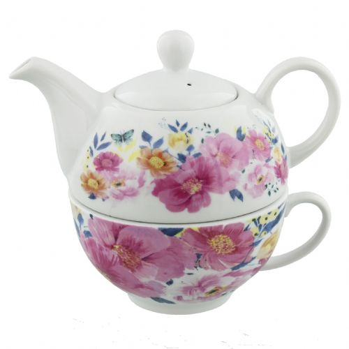 Vintage Floral Teapot For One Gift Set By Louise Tyler Designs - Mothers Day Gifts For Mum and Grandma SALE